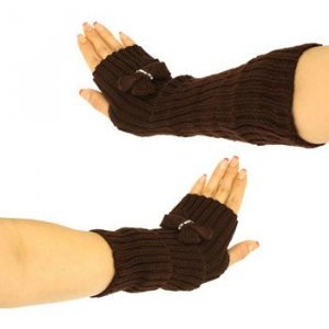 Knit Arm Warmer Fingerless Ribbon Crystals Gloves Brown
