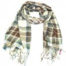 SOFT PLUSH PLAID LONG SCARF WRAP SHAWL 70X26 BROWN
