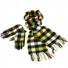Softer than Cashmere? Scarf Gloves Set Plaid Multi Lime
