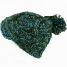 HAND KNIT CABLE REMOVALBE POM POM SKI BEANIE HAT TEAL