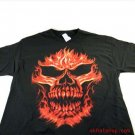 BLACK FLAMING SKULL SHORT SLEEVE SHIRT T-SHIRT * LARGE