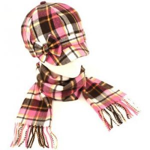 Kid Plaid Cabbie Hat Softer Cashmere Scarf? Set Pink