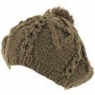 Handknit Chunky Knit Winter Beret Knit Tam Hat Gray