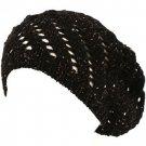 Swirl Knit Winter Ski Beret Knit Tam  Hat Shiny Black