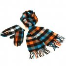 Softer than Cashmere? Scarf Gloves Set Plaid Blu Orange