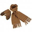 Softer Cashmere? Scarf Gloves Set Houndstooth Beige