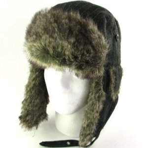 Men's Faux Fur Pinstripe Trapper Ski Snow Hat Black M/L