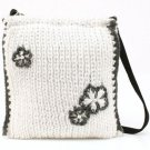 Winter 3 Flower Knit Handbag Shoulder Body Bag White