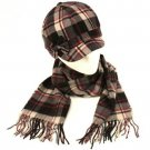 Tartan Plaid Cadet Hat Softer Cashmere Scarf? Set Black