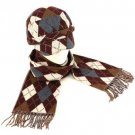 Argyle Plaid Cadet Hat Softer Cashmere Scarf? Set Wine