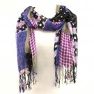 Vibrant Floral Patch Summer Light Scarf Shawl Purple