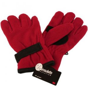 Winter Fleece Velcro Ski Thinsulate Gloves Red M/L