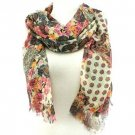 Paisley Floral Summer Frayed Long Scarf Shawl Yellow