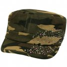 Hot Crystals Summer Cotton Kids 4-7 Cadet Hat Cap Olive