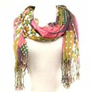 Vibrant Floral Patch Summer Light Scarf Shawl Wrap Pink