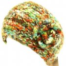 Hand Knit Head wrap Headband Chunky Flower Multi Olive