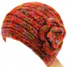Hand Knit Head wrap Headband Chunky Flower Multi Rust