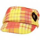 Cotton Kids 3-5 Plaid Peace Heart GI Cadet Hat Cap Pink