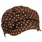 Kids 3-7+ Polka Dot Denim Bow Newsboy Hat Cap Brown