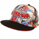 Spiderman Marvel Comics Kids Flat Visor Bill Hat Black