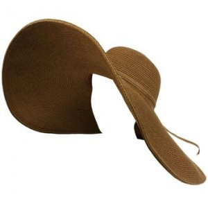 UPF Sun Beach Solid Hat Floppy 8&quot; XL Brim Shape Brown