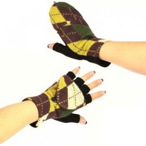 Winter Wool Argyle Plaid Flip Fingerless Gloves Mustard