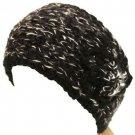 Handmade Shimmer Flower Knit Headwrap Headband Black