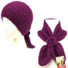 2 in1 Knit Headwrap & Neck warmer wrap Ski Scarf Purple