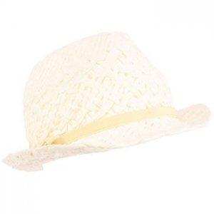 Kids 4-12 Girls Summer Sun Fedora Bow Trilby Hat White