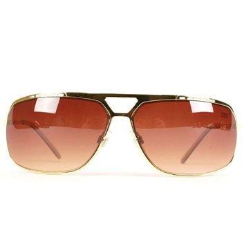 Designer Wide Aviator Rapper Metal Sunglasses Gold Br