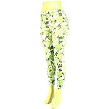 Summer Semi Sheer Rose Print Legging Stretch White Lime
