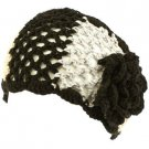 Wide Knit Flower Crochet Headwrap Headband Tri- Black