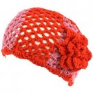 Wide Knit Flower Crochet Headwrap Headband Tri- Red