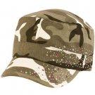 Summer Cotton Cyrstals Hot Fix Camo Cadet Hat Cap Gray