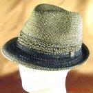 NWT BRAID CROCHET FEDORA TRILBY PACKABLE HAT BLACK M/L