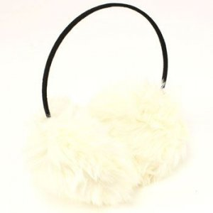 Winter Extra Fluffy Fuzzy Ski Earmuff Ear Warmer White