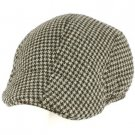 Men's Wool Blend Winter Duck Bill Ivy Cabby Driver Houndstooth Hat Cap Gray XL