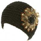 Real Feathers Sequins Adjustable Hand Knit Handmade Headwrap Headband Ski Black