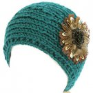 Real Feathers Sequins Adjustable Hand Knit Handmade Headwrap Headband Ski Teal