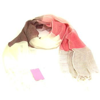 Cool Linen Light Sheer Large Wide Scarf  Shawl  Fuchsia