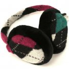 Winter Ski Argyle Earmuff Ear Warmer Adjustable Berry