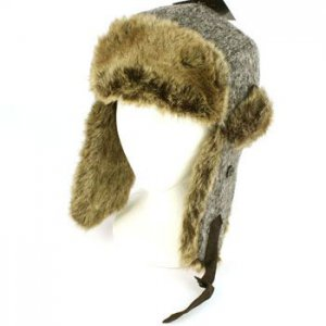 Winter Melange Knit Faux Fur Trooper Trapper Earflaps Ski Aviator Cap Hat Gray