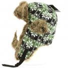 SnowFlake Faux Fake Fur Trooper Trapper Earflaps Ski Snow Aviator Cap Hat Olive