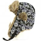 SnowFlake Faux Fake Fur Trooper Trapper Earflaps Ski Snow Aviator Cap Hat Navy