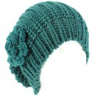 Winter Long Slouchy Crochet Flower Knit Beanie Skull Stretchy Ski Cap Hat Teal