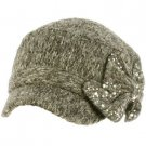 Elastafit Winter Ribbon Bow Crystals Knit Cadet Military Castro Hat Cap Charcoal