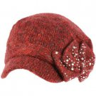 Elastafit Winter Ribbon Bow Crystals Knit Cadet Military Castro Hat Cap Burgundy