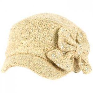 Elastafit Winter Ribbon Bow Crystals Knit Cadet Military Castro Hat Cap Beige