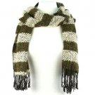 Unisex Winter 2 Tone Stripe Long Soft Textured Stretch Knit Ski Scarf Wrap Olive
