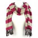 Unisex Winter 2 Tone Stripe Long Soft Textured Stretch Knit Ski Scarf Wrap Berry